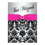 Pink, Silver, and Black Damask Bat Mitzvah Invite 13 Cm X 18 Cm Invitation Card
