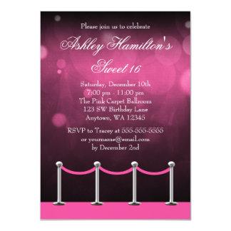 Pink Silver Carpet Hollywood Sweet 16 Birthday 11 Cm X 16 Cm Invitation Card