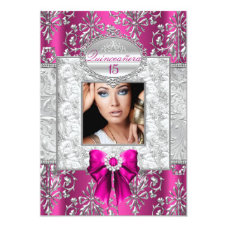 Pink & Silver Damask Quinceanera Announcements