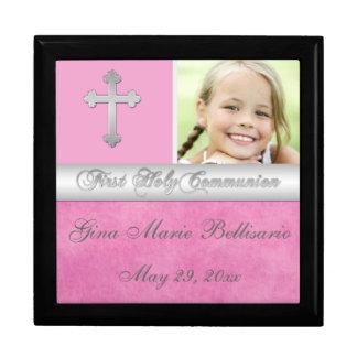 Pink, Silver Holy Communion Keepsake Jewelry Box