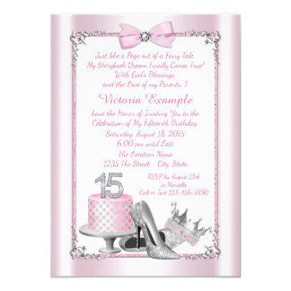 Pink Silver Quinceanera 15th Birthday Invitations