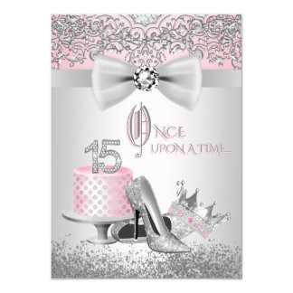 Pink Silver Quinceanera Princess Birthday Party 11 Cm X 16 Cm Invitation Card