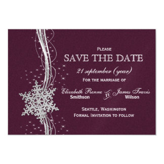 pink Silver Snowflakes Winter save the date Magnetic Invitations