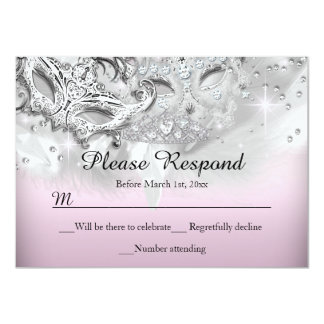 Pink & Silver Sparkle Masquerade RSVP Reply 4.5x6.25 Paper Invitation Card