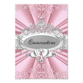 """Pink/Silver Tiara & Damask Quinceanera 15th Party 3.5"""" X 5"""" Invitation Card"""
