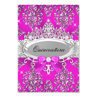 Pink Silver Tiara Damask Quinceanera Invite