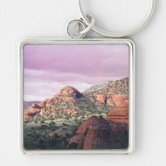 Pink Skies of Sedona Silver-Colored Square Key Ring