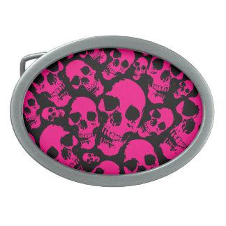 Pink Skulls Belt Buckle