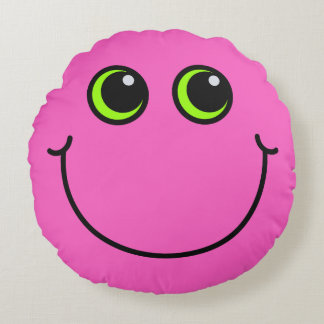 Pink Smiley Face Round Cushion
