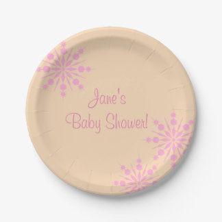 Pink Snowflake Baby Shower Paper Plates