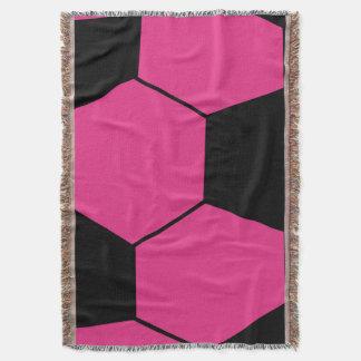 Pink Soccer Ball Throw Blanket