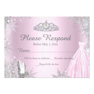 Pink Sparkle Dress Tiara RSVP Reply Personalized Invitations