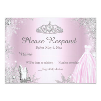 Pink Sparkle Dress & Tiara RSVP Reply Personalized Invitations