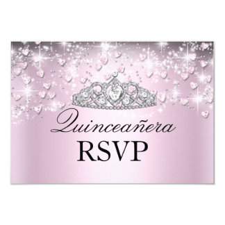 Pink Sparkle Tiara & Hearts Quinceanera RSVP Card