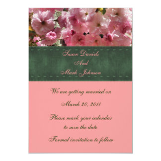Pink Spring Blossoms Floral Wedding Save The Date Card