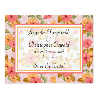 Pink Spring Floral Wedding Save the Date Card