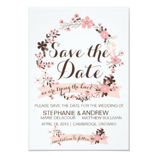 Pink Spring Floral Wreath Save The Date Invitation