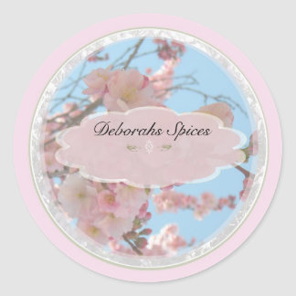 pink spring flowers b personalizable labels round sticker