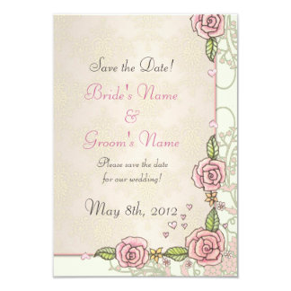 Pink Spring Roses Wedding Save the Date Cards