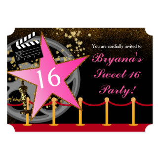 Pink Star Hollywood Red Carpet Party Invitations