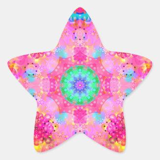 Pink Stars & Bubbles Fractal Pattern Star Sticker