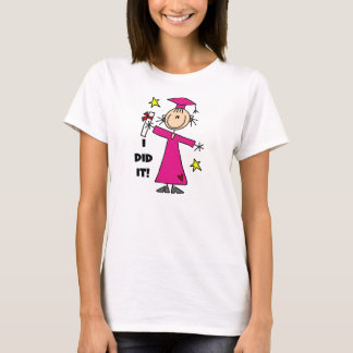 Pink Stick Figure Girl Graduate T-Shirt