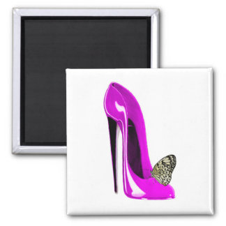 Pink Stiletto Shoe and butterfly Fridge Magnets