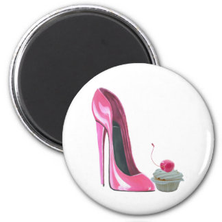 Pink Stiletto Shoe and Cupcake 6 Cm Round Magnet