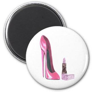 Pink Stiletto Shoe and Lipstick Art 6 Cm Round Magnet