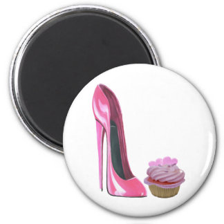Pink Stiletto Shoe and Pink Cupcake with Hearts Magnet