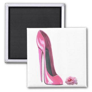 Pink Stiletto Shoe and Rose Fridge Magnets
