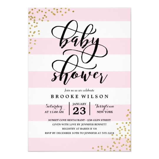 Pink stripe glitter dots baby shower invitation zazzle pink stripe glitter dots baby shower invitation filmwisefo