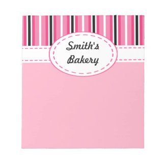 Pink Striped Business Notepad
