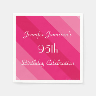 Pink Striped Personalized 95th Birthday Party Disposable Serviettes