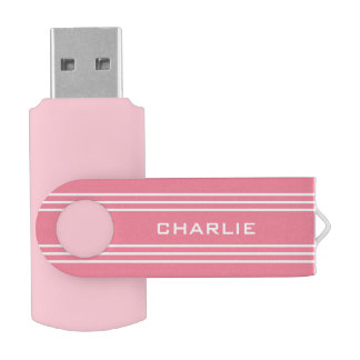 Pink Stripes custom monogram USB drives