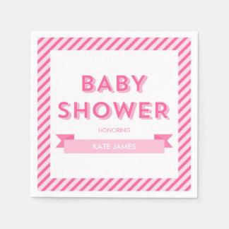 Pink Stripes Modern Baby Shower Disposable Serviette