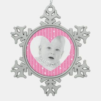 Pink Stripes with Heart Shaped Photo Pewter Snowflake Decoration