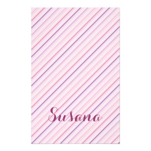 Pink Stripped Girl Pattern  Custom Name Custom Flyer