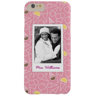 Pink Summer Ice Cream Pattern | Monogram Barely There iPhone 6 Plus Case