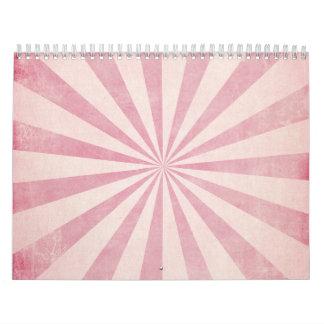 Pink Sunburst Starburst Vintage Rustic Burst Print Wall Calendars