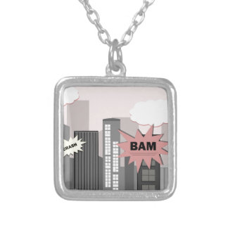 Pink Super Hero City Square Pendant Necklace
