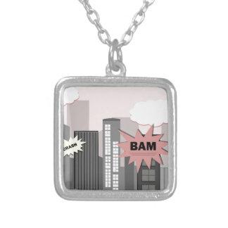 Pink Super Hero City Square Pendant Necklace