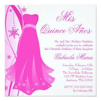 Pink Swirl Dress Winter Wonderland Quinceanera Card