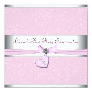 Pink Swirl Heart Pink Cross First Communion Card