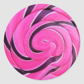 Pink Swirl Lolly Classic Round Sticker