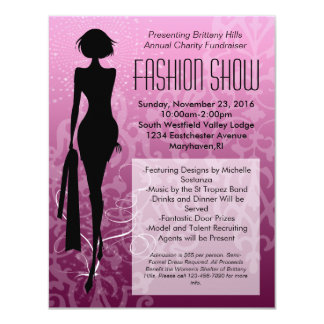 "Pink Swirl Silhouette Fashion Show Invitations 4.25"" X 5.5"" Invitation Card"