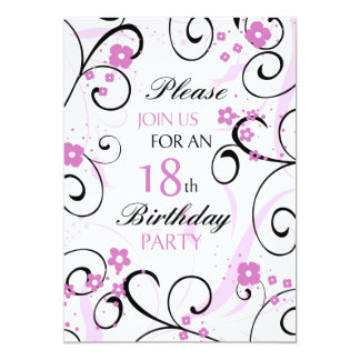 Pink Swirls 18th Birthday Party Invitation Card