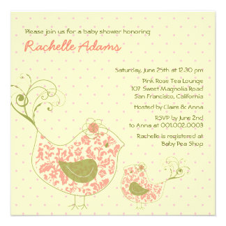 Pink Swirly Mom & Baby Bird Baby Shower Invitation Custom Invitation
