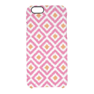 Pink Tangerine Ikat Pattern Clear iPhone 6/6S Case