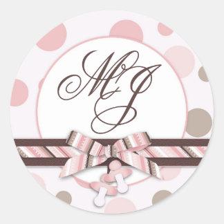 Pink & Taupe Polka Dots Monogram Round Sticker